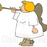 9403-Female-Blond-Angel-Playing-A-Horn-Clipart-Illustration